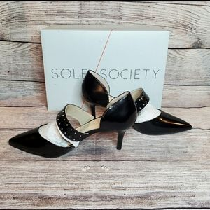 Sole Society black leather pointed toe heels
